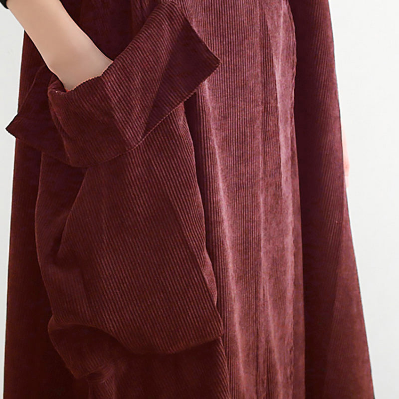 Plus Size - Big Button Irregular Sling Corduroy Dress