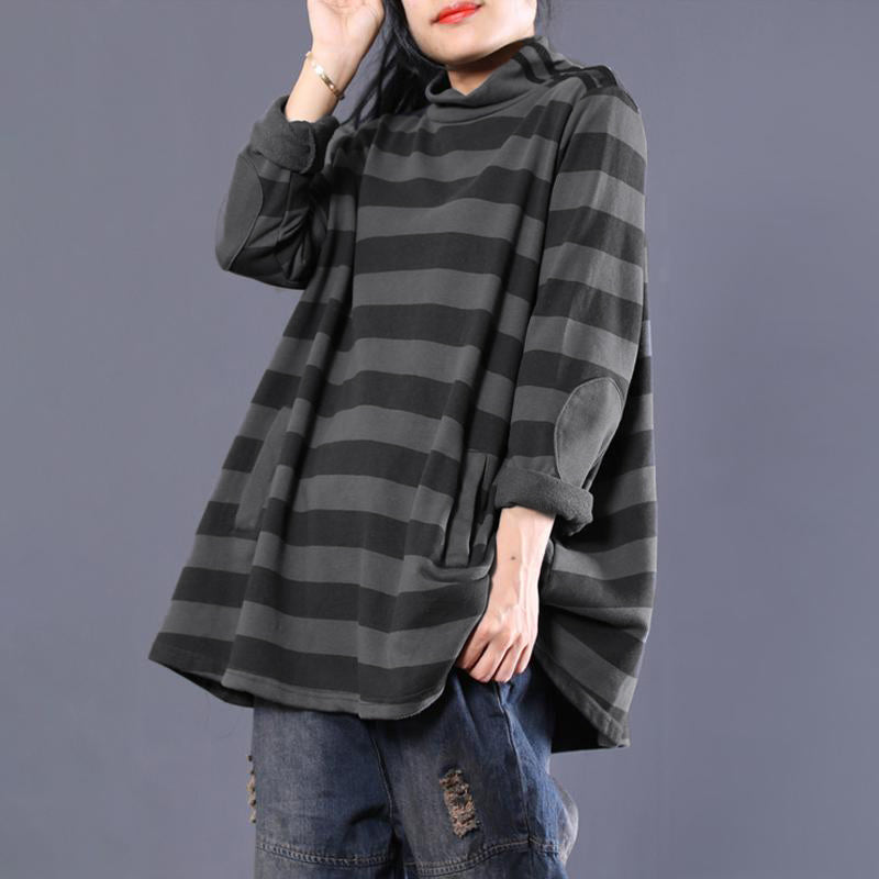 Plus Size - Casual Female Cotton Striped Turtleneck Sweatshirt