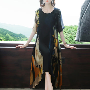 Plus Size - Elegant Chiffon Prints Loose Midi Dress