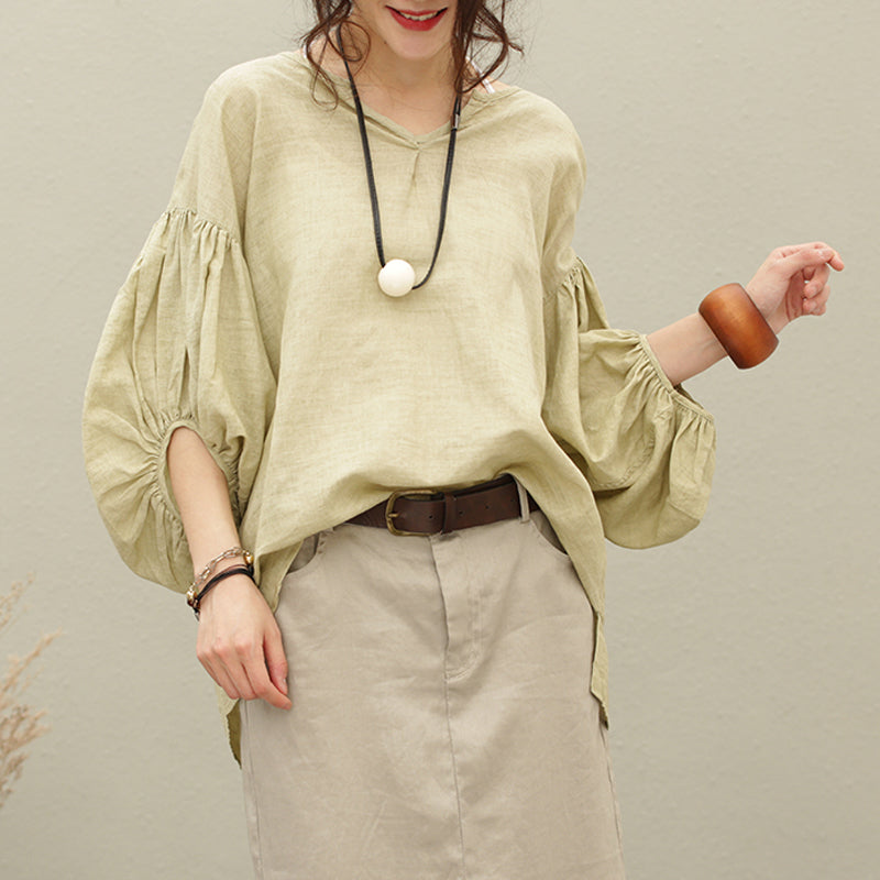Plus Size - Cotton Linen Lantern Sleeve Solid Color Blouse