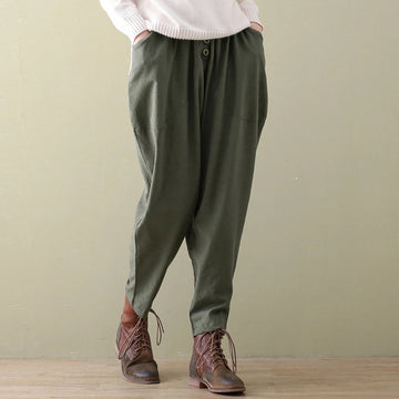Plus Size - Solid Color Vintage Harem Pants Pencil Pants