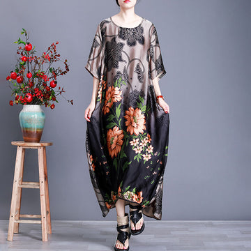 Summer Loose Women Flower Print Dress
