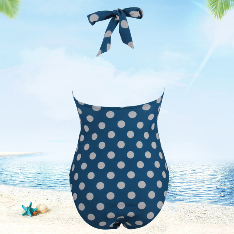 Plus Size - Summer Prints Halter One-piece Swimsuit