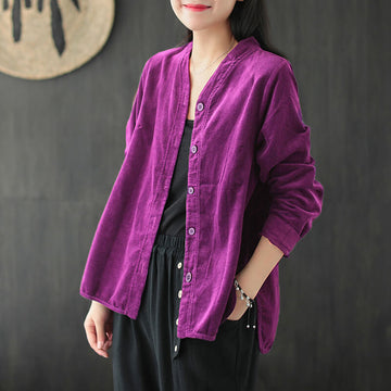 Plus Size - Women Retro Corduroy Solid Color Coat