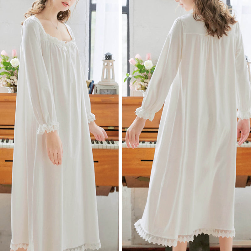 Plus Size Solid Color Ruffle Ribbon Long Sleeve Cotton Nightdress
