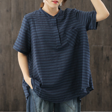Plus Size Stand Collar Stripe T-shirt