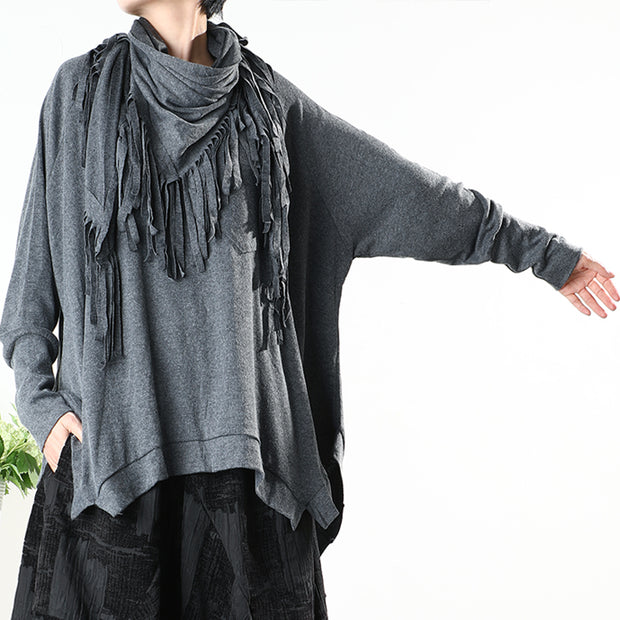 Plus Size - Irregular Hem Pure Color O-neck Blouse Without Scarf