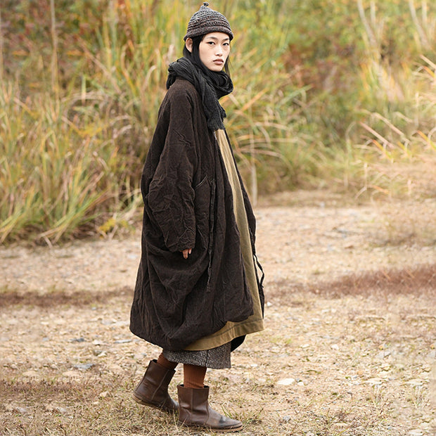 Plus Size - Retro Loose Pleated Skin-friendly Coat