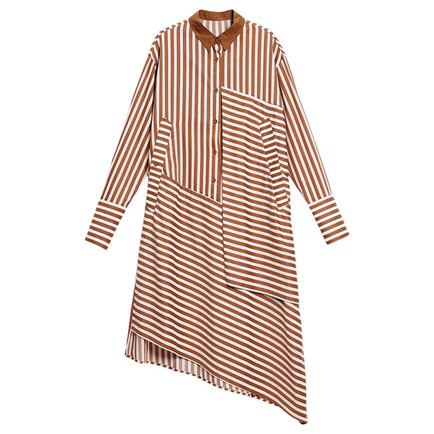Plus Size Asymmetric Stripes Pringting Shirt Dress