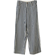 Plus Size Blue White Stripes Casual Thin Straight Pants