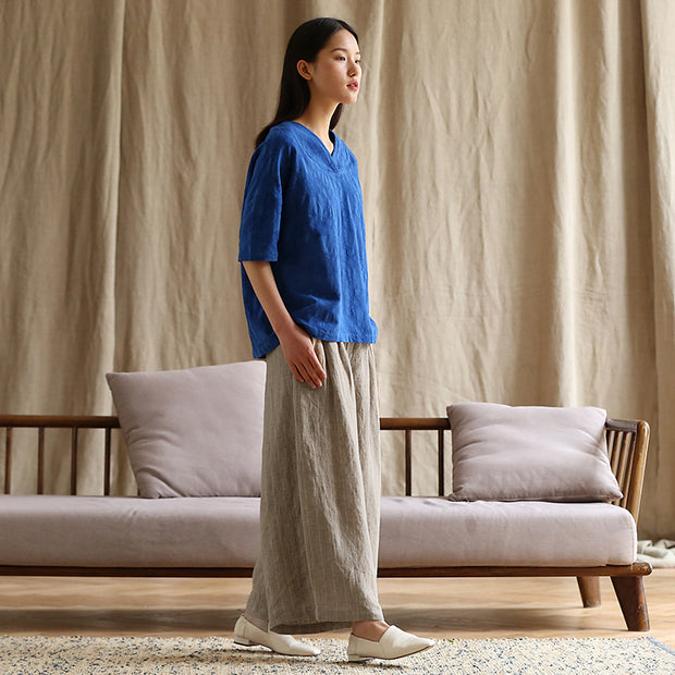 Plus Size Casual Stripes Linen Wide Leg Pants