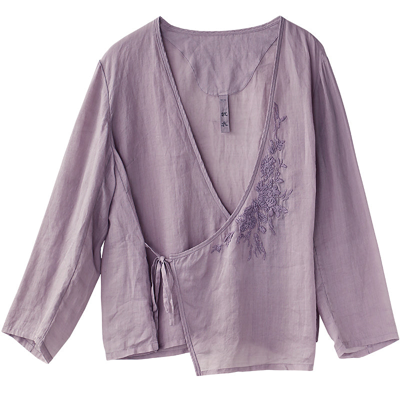 Plus Size Chinese Style Pure Color Lacing Blouse