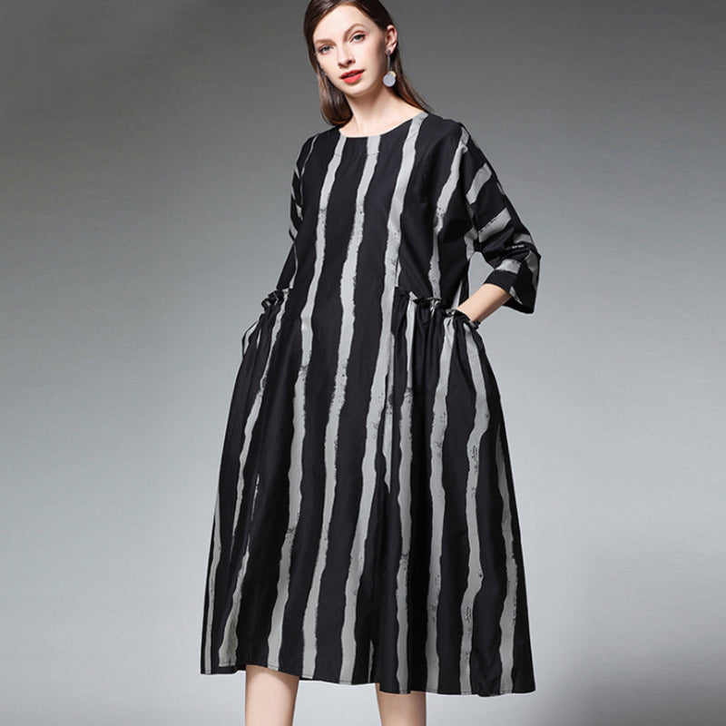 958cee21d1 Plus Size Cotton Stripe Elegant Round Neck Dress