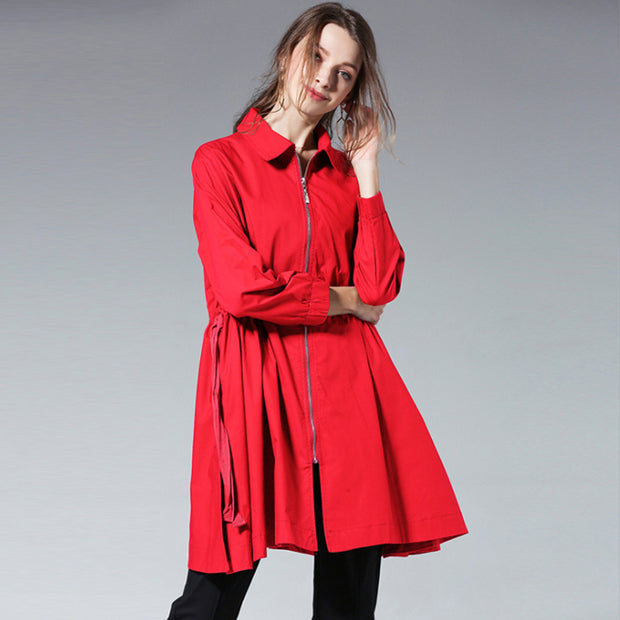 Plus Size Drawstring Zipper Spring Trench Coat