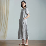 Plus Size Elegant Stripes Spliced Linen Dress