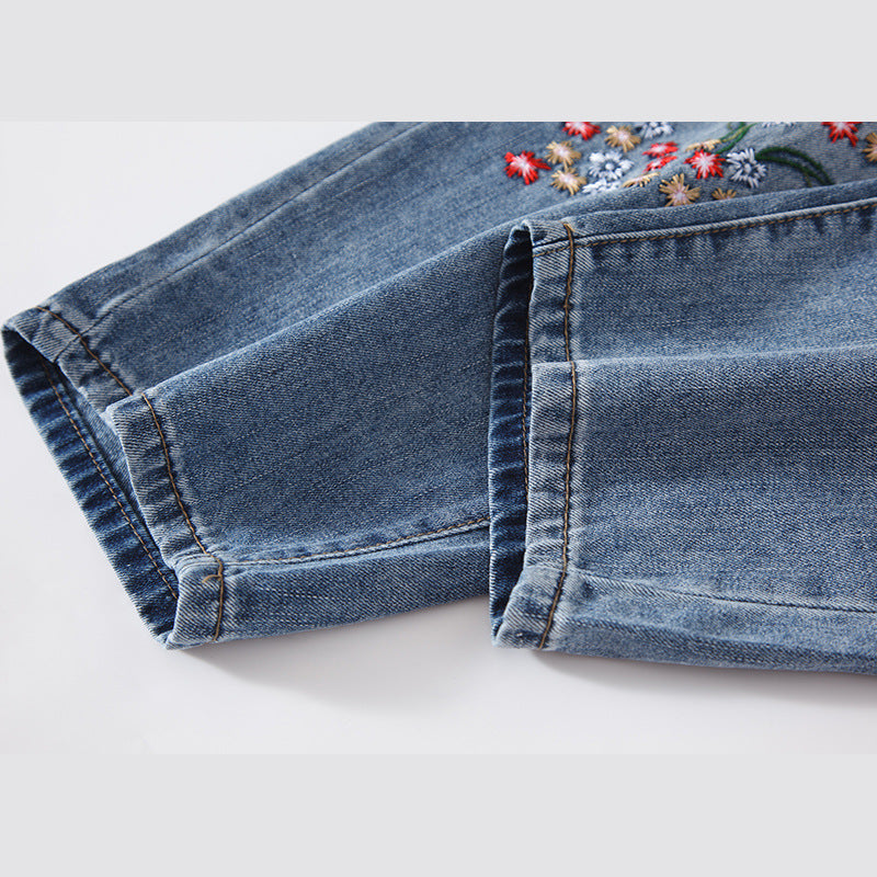 b894a8528c Plus Size Embroidered Floral Casual Drawstring Jeans