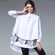 Plus Size Fashion Printing Stand Collar Shirt