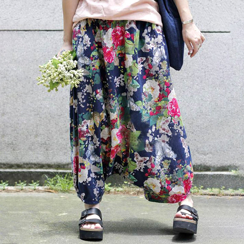 Plus Size Floral Printed Loose Sagging Pants