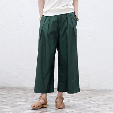 Plus Size - Folded Pure Color Wide Leg Pants