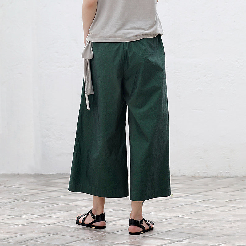 Plus Size Folded Pure Color Wide Leg Pants