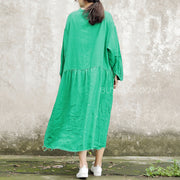 Plus Size Green Pleat Long Flax Dress