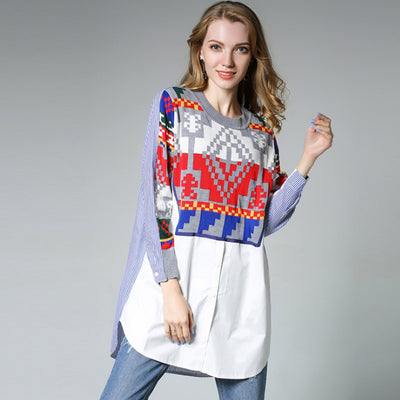 Plus Size Knitting Contrast Color Splicing Shirt