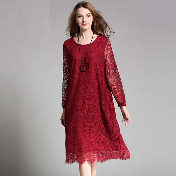Plus Size Lace Solid Embroidery Plus Size Dress