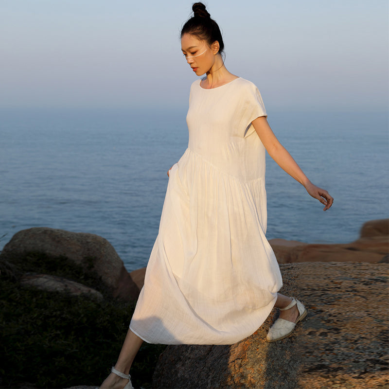 Plus Size - Hand-made Lacing Spliced Casual Linen Dress
