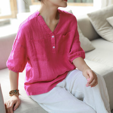 Plus Size Lantern Sleeve Casual Pure Color Blouse