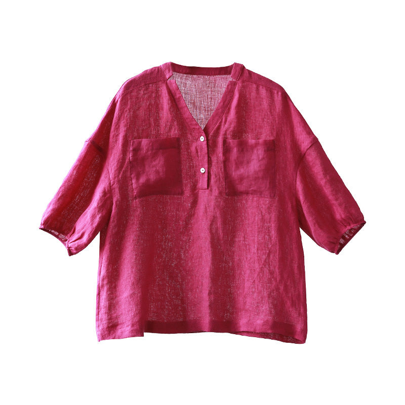 Plus Size Lantern Sleeve Casual Pure Color Shirt