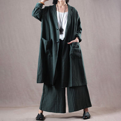 Plus Size Linen Stripe Green Blazer And Pants