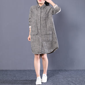 Plus Size Loose Cotton Linen Stripe Shirt Dress