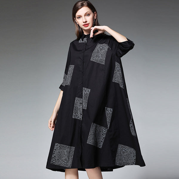 Plus Size Patchwork Half Sleeve Shirt Dress