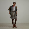 Plus Size Plaid Wool Polyester Women Cardigan Coat