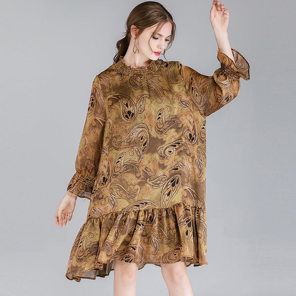 Plus Size Printing Gambiered Guangdong Silk Dress