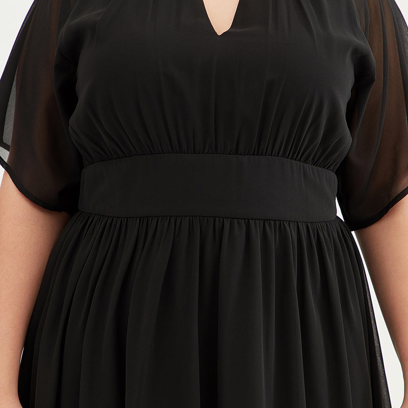 Plus Size Pure Color Chiffon Pleated Dress