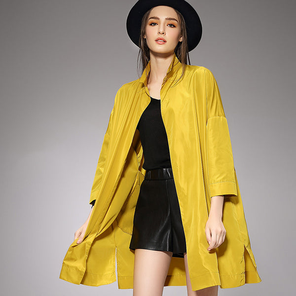 Plus Size Pure Color Split Trench Coat