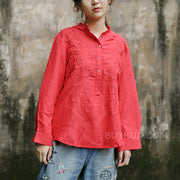 Plus Size Red Embroidery Loose Blouse