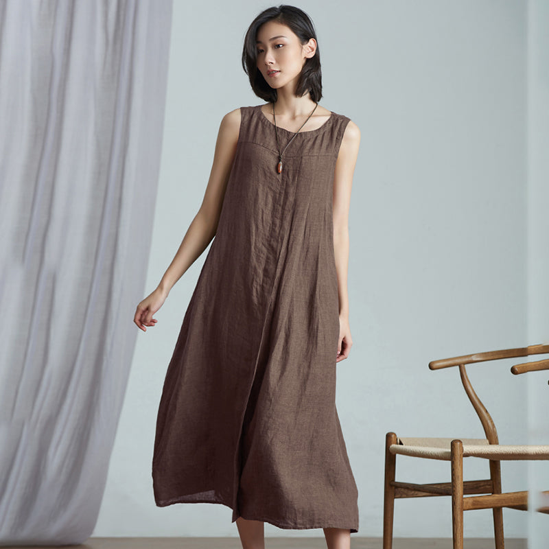 Plus Size Retro Simple Linen Sleeveless Dress