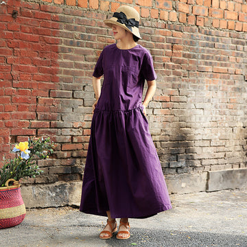 Plus Size Round Collar Short Sleeve Purple Cotton Dress