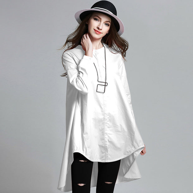 Plus Size Solid Color High Low Hem Shirt