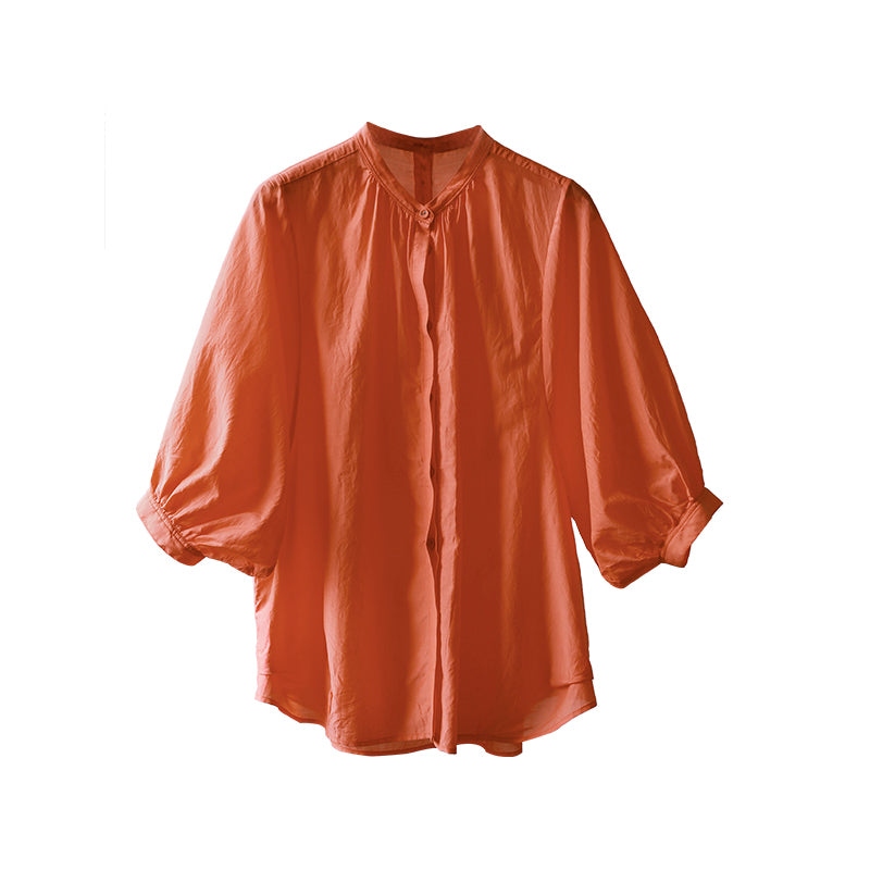 Plus Size Solid Color Stand Collar Women Blouse