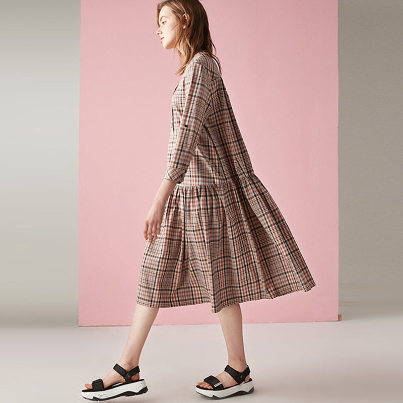 Plus Size Splicing Plaid Pullover Loose Midi Dress