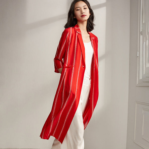 Plus Size Spring Stripe Cardigan Red Trench Coat