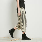 Plus Size Stripe Casual Turnip Pants