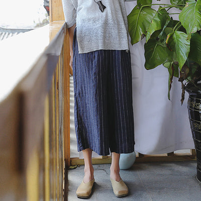 Plus Size Stripe Linen Blue Loose Wide Leg Pants