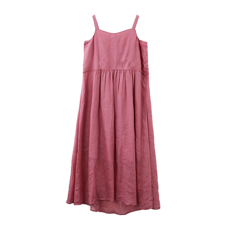 Plus Size Summer Solid Color Pure Ramie Slip Dress