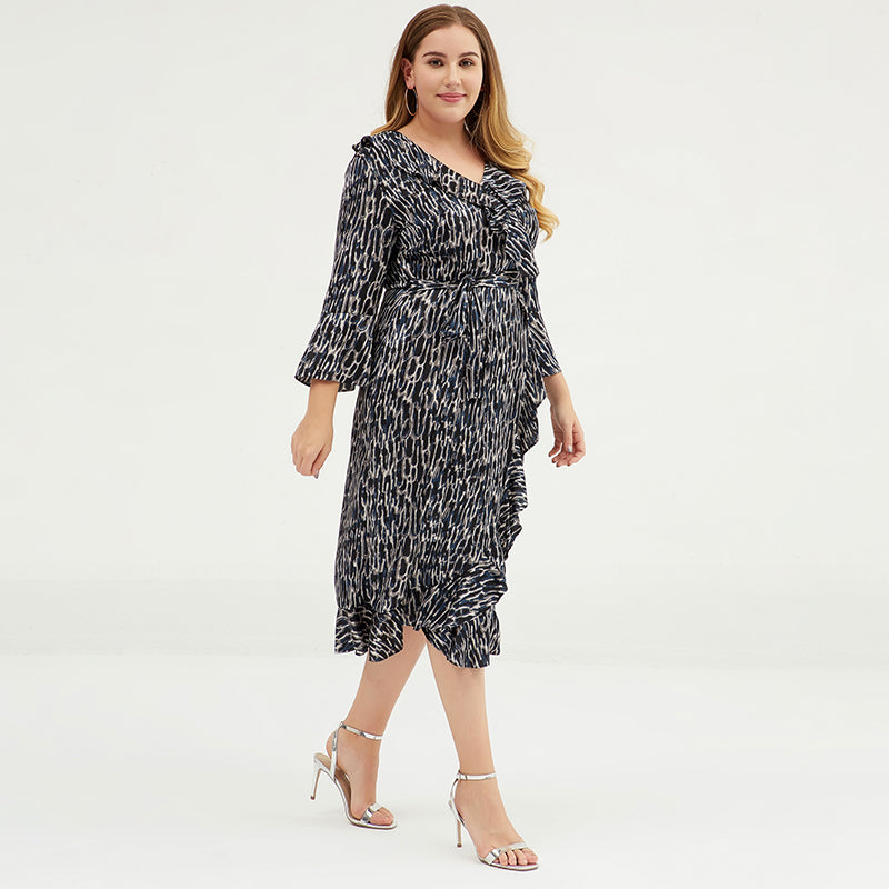 Plus Size V-Neck Ruffled Printed Chiffon Dress