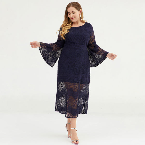 Plus Size Women Bell Sleeve Lace Sheath Dress