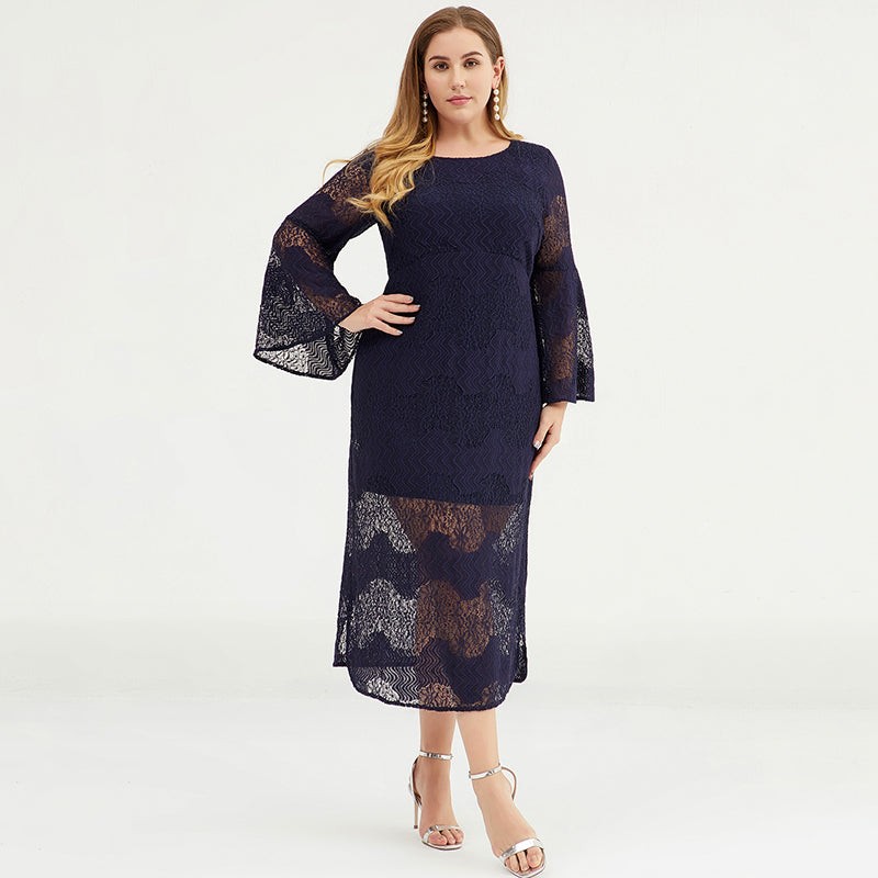 Plus Size - Women Flare Sleeve Lace Dress
